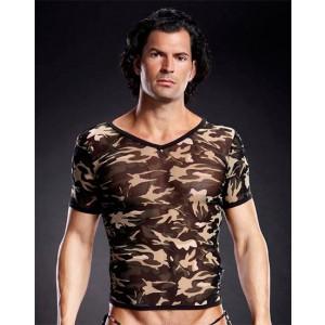 Camiseta Camuflaje Cuello de Pico