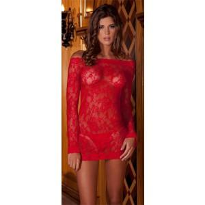 Conjunto Vestido y Tanga Rojo de Encaje