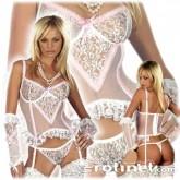 Charming Conjunto Transparente Blanco con Encajes