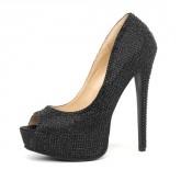 Leg Avenue Glamour Peep Toe Pump Negro Satinado con Strass