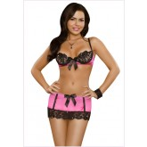 Sequin Lace Bra, Skirt Rosa