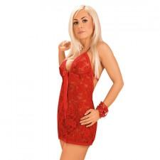 Mini Vestido de Encaje Rojo con Tanga